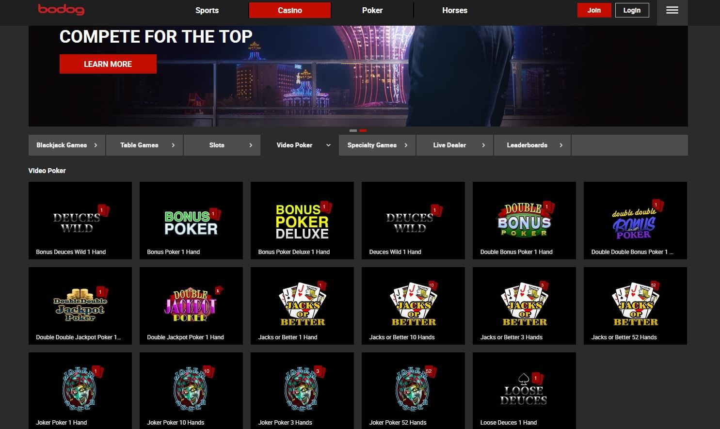 Play video poker at Bodog