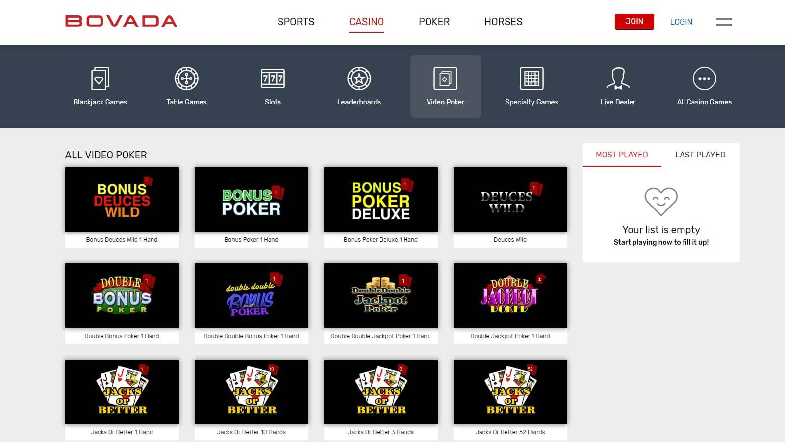 Play Video poker at Bovada