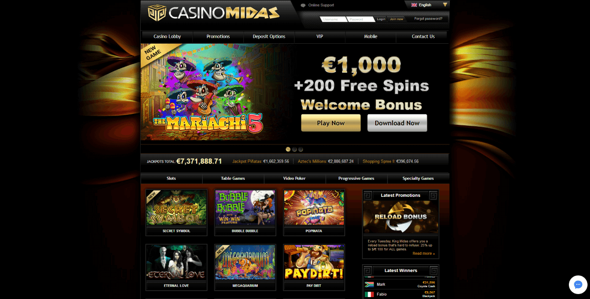 Casino Midas homepage