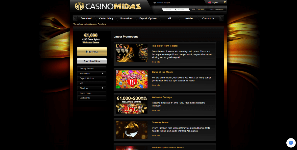 Available promotions at Casino Midas