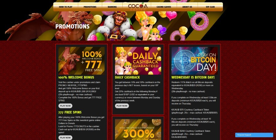 Available promotions at Cocoa Casino