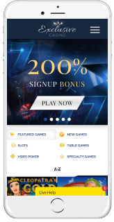 Exclusive Casino is fully optimized for mobile play