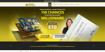 The landing page at Grand Mondial Casino