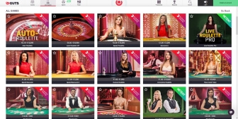 Live casino games at Guts Casino