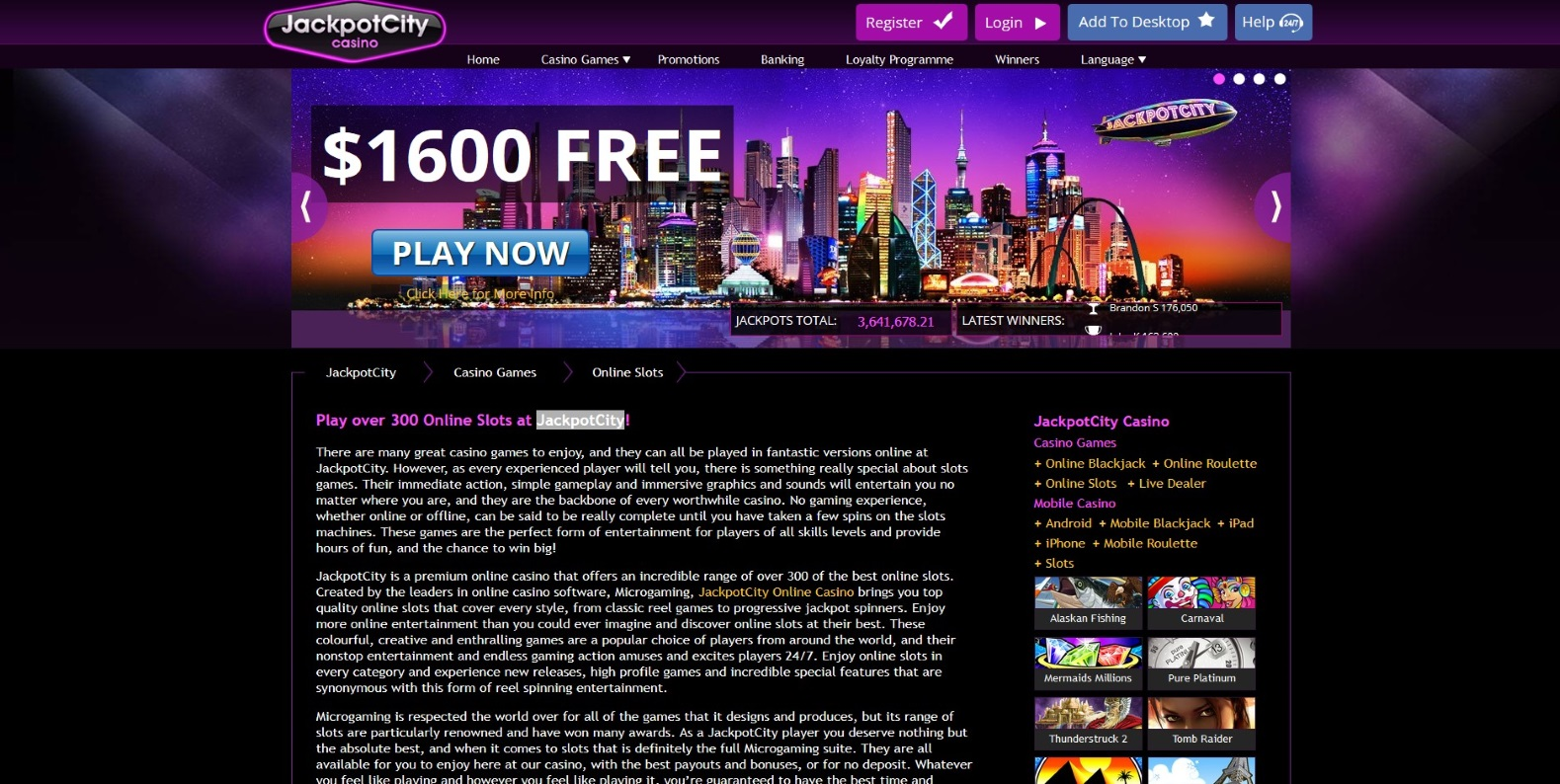 Online Slots Games At JackpotCity Casino