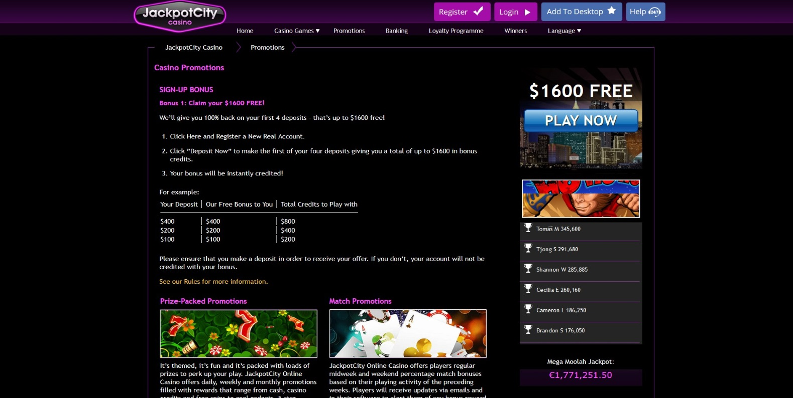 JackpotCity Casino All Promotions