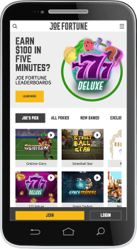 Joe Fortune Casino website is well optimized for mobile play