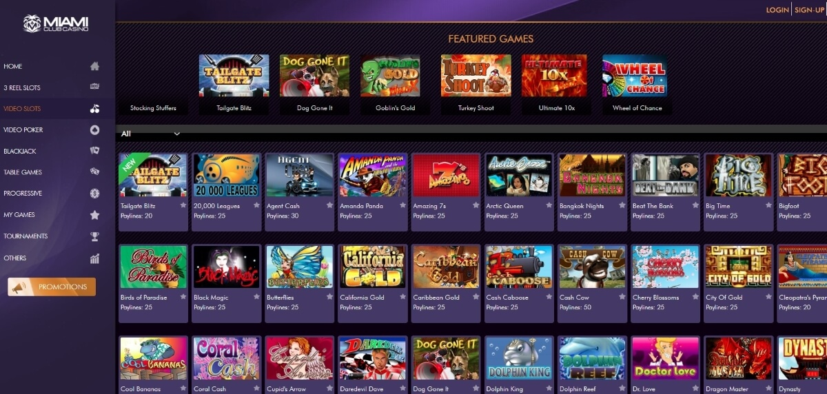 The games page of Miami Club Casino