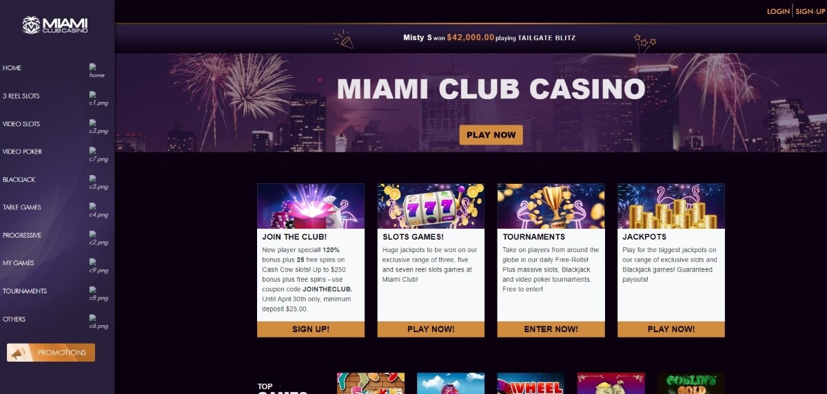 The home page of Miami Club Casino