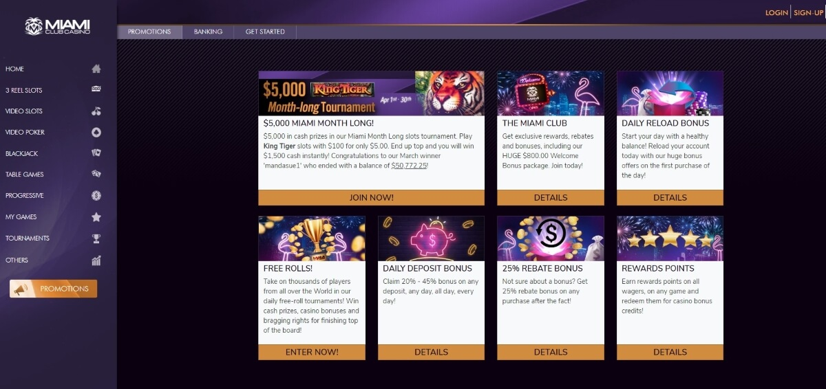 Miami Club Casino promotion page