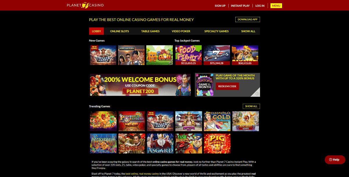 Instant Play Planet 7 Casino