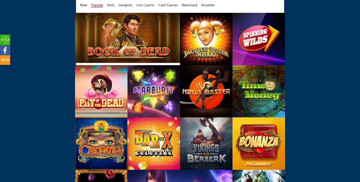 Popular casino games at Red Kings