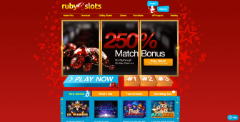 Ruby Slots Casino homepage