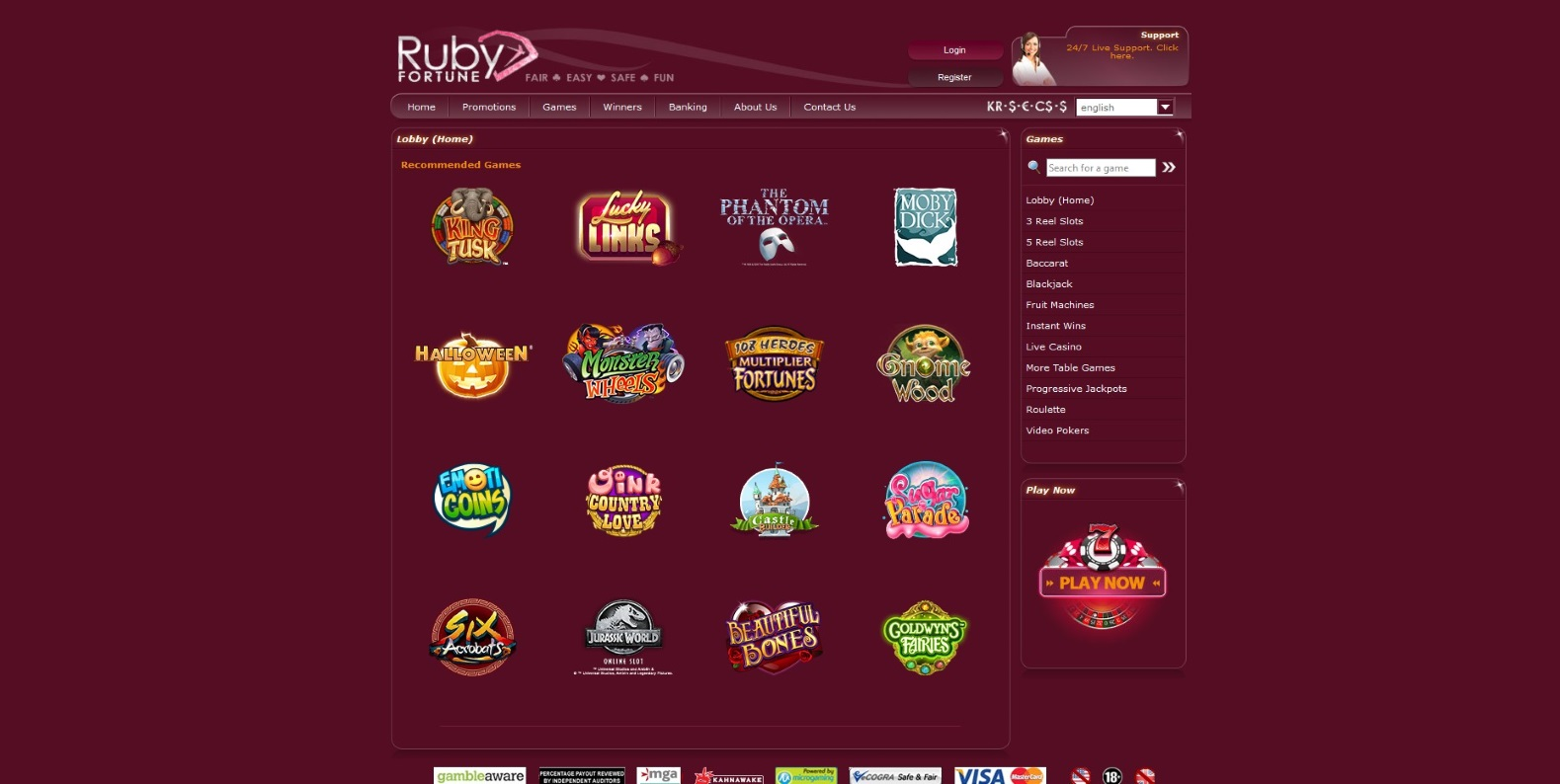 All Casino Games at Ruby Fortune Casino