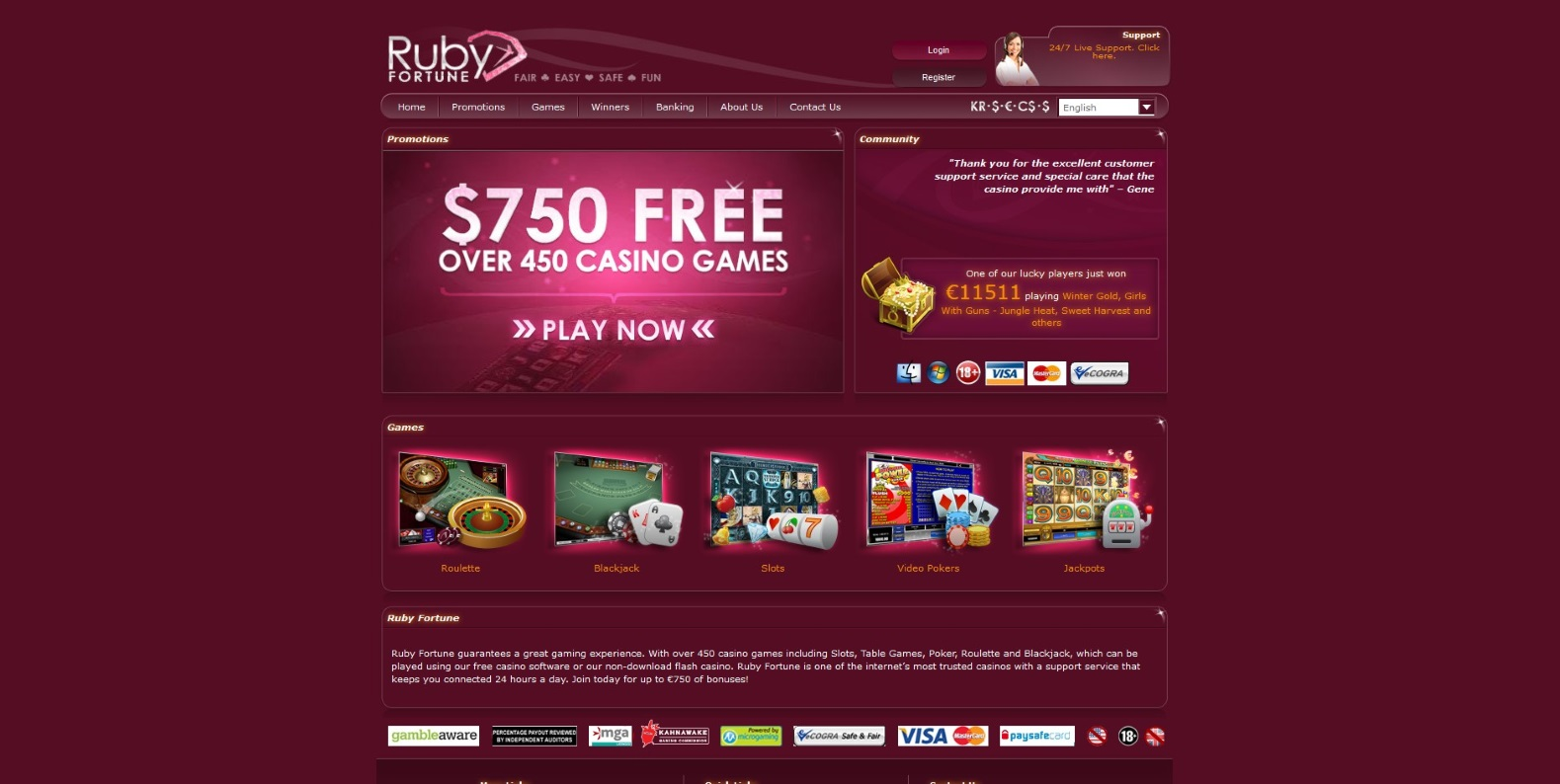 The Home Page of Ruby Fortune Casino