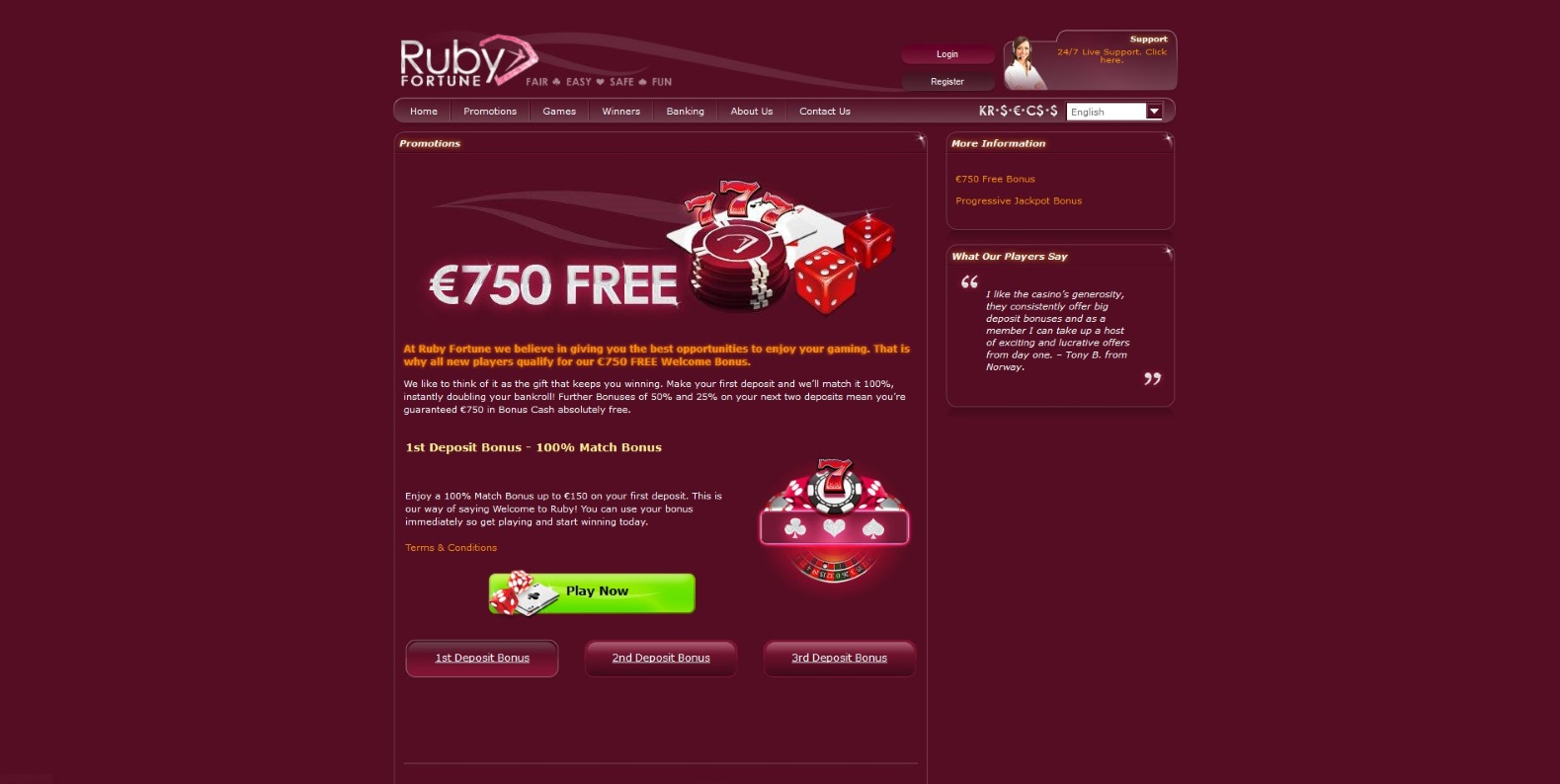 Promo page of Ruby Fortune Casino