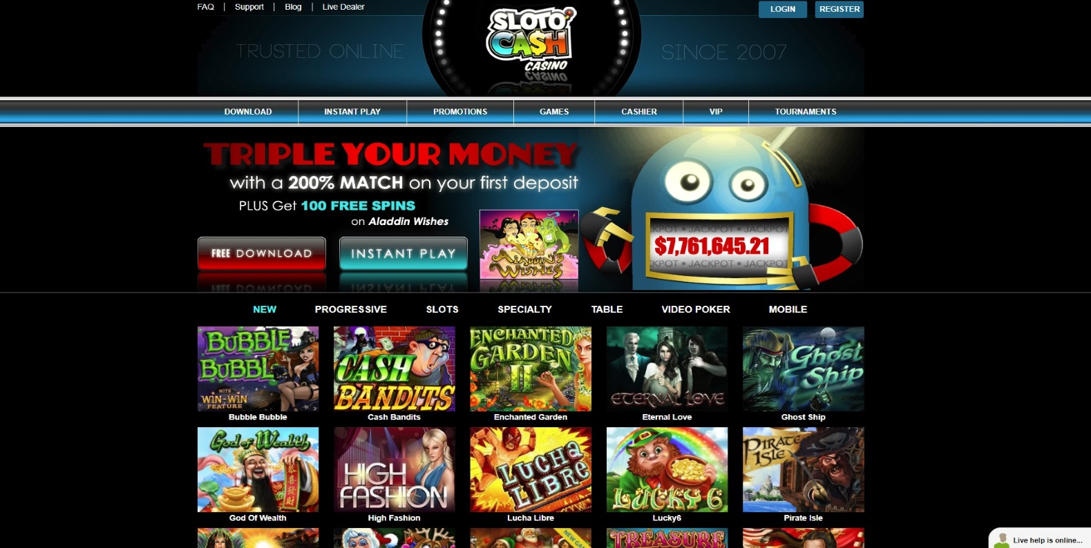 The home page of Sloto'Cash casino