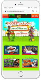 Slots Garden Casino is accessible through Android and iOS devices