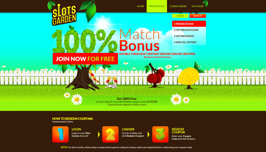 Slot garden casino login