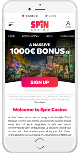 Spin Casino mobile is available for iOS, Android, and Windows