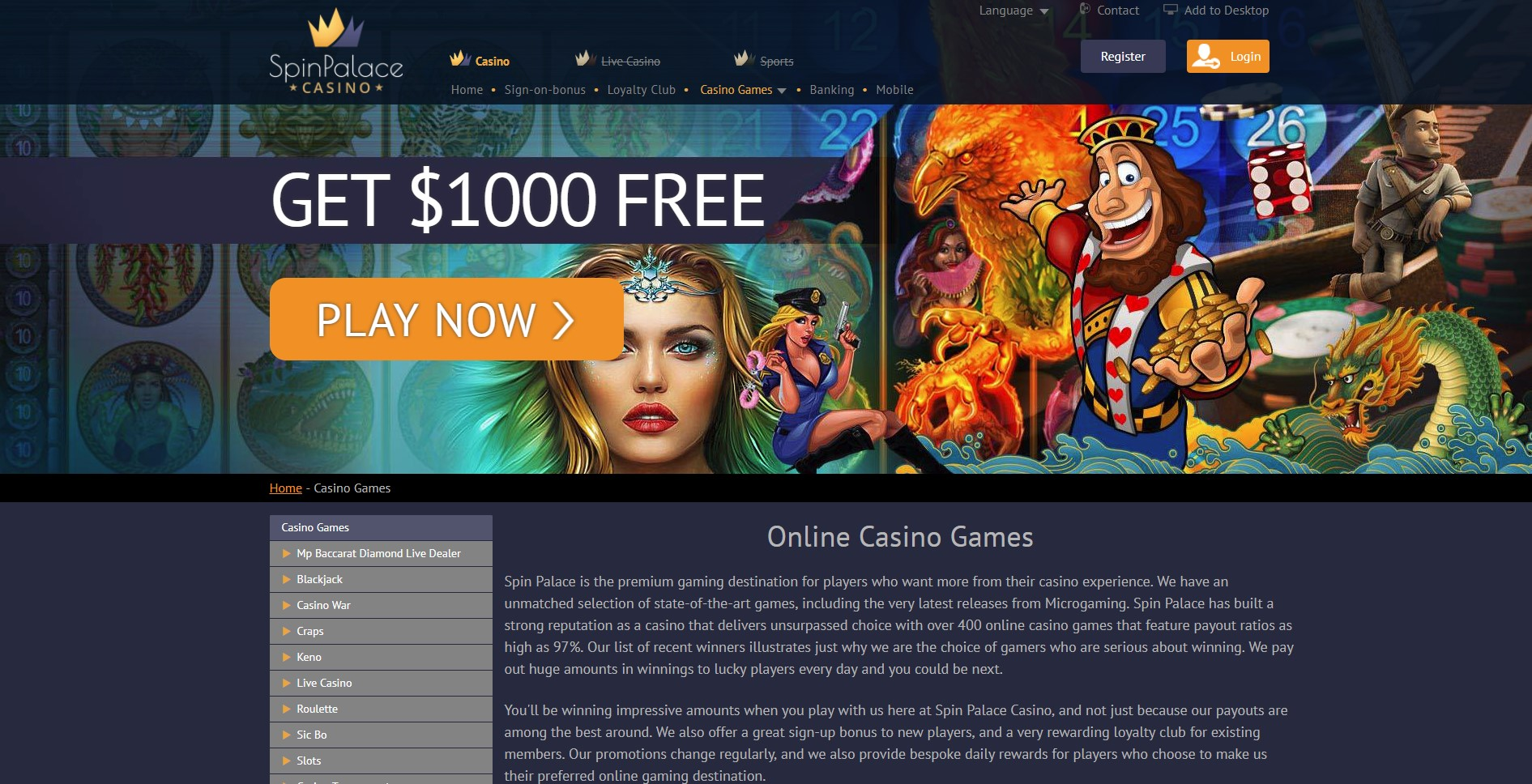 All Casino Games Page at Spin Palace