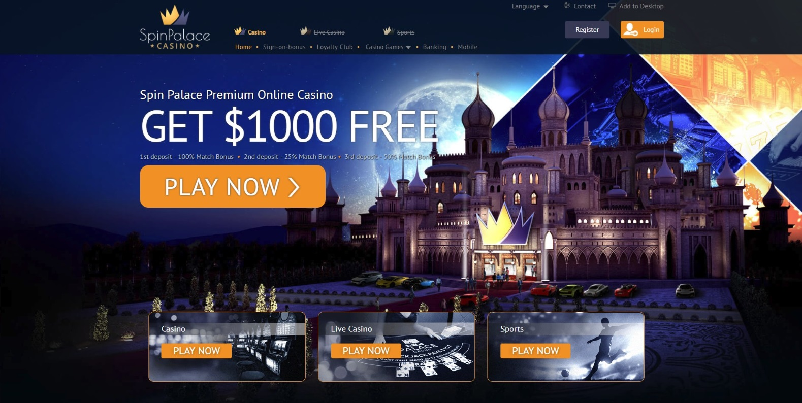 Spin Palace Casino Home Page