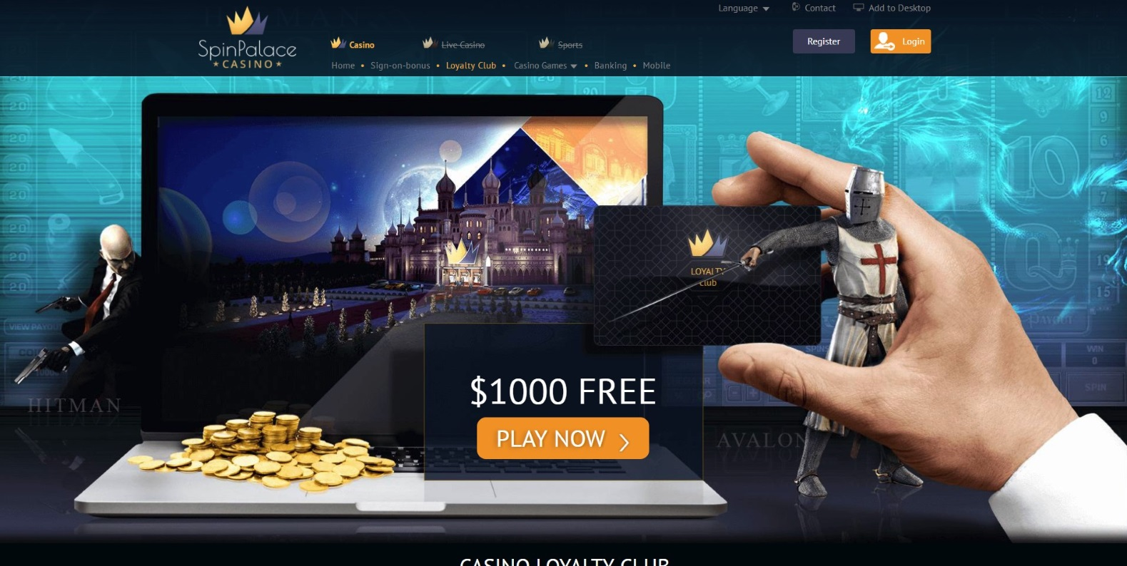 Casino Loyalty Club Page at Spin Palace