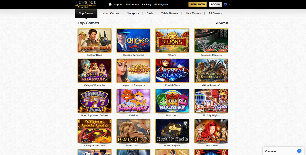 Games at Unique Casino