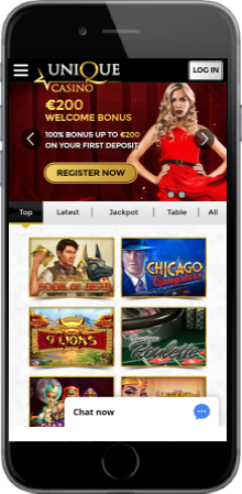 Unique Casino's websites is well optimized for mobile play