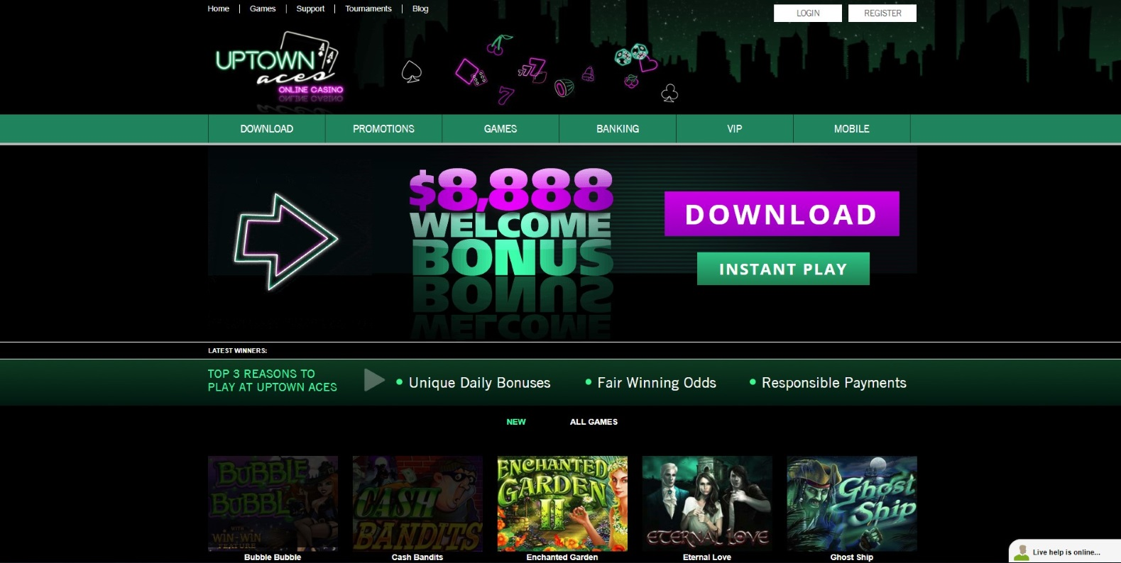 The home page of Uptown Aces casino