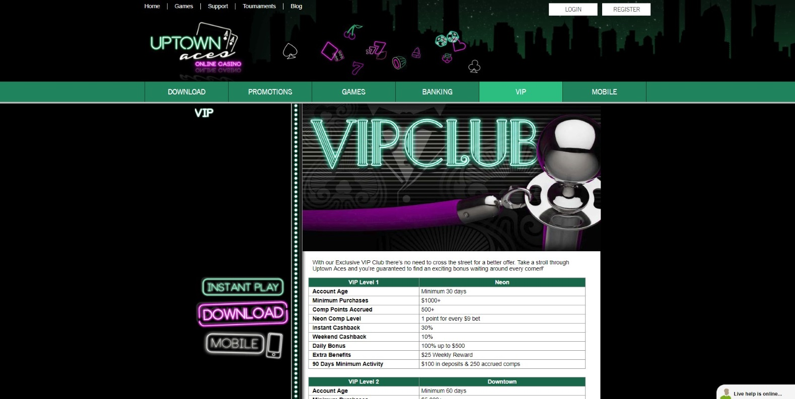 Exclusive VIP Club page on Uptown Aces