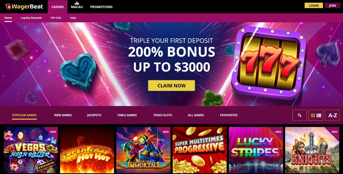Wager Beat Casino homepage