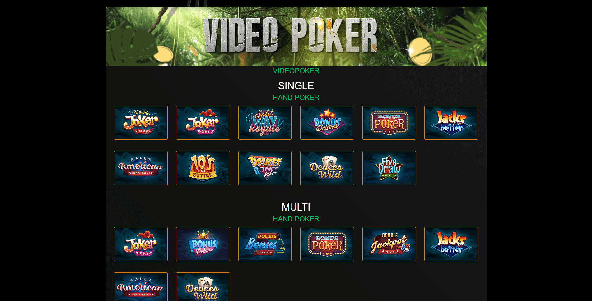 Play Video poker at Wild Casino